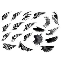 Set of heraldic bird wings vector image
