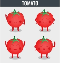 Tomato Funny cartoon vegetables Organic food vector image