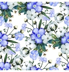 Watercolor linen and cotton pattern vector image