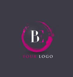 be letter logo circular purple splash brush vector image vector image