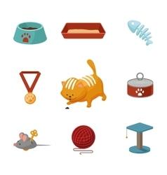 Domestic cat cartoon icons set vector image