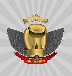 golden Glove boxing cup boxing Emblem team and vector image