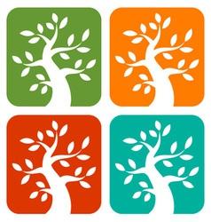 Set of Colorful Season Tree Bold icons vector image vector image