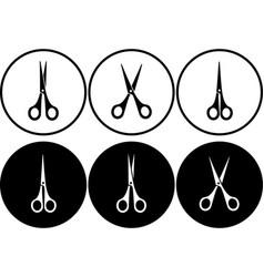set of scissors in round frame vector image