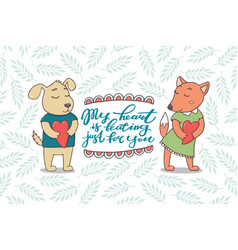 valentine day greeting card with puppy and fox vector image