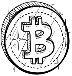 doodle currency coin bitcoin vector image vector image