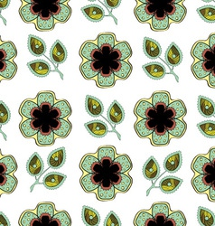 Flowers and Leaves Endless Seamless Pattern vector image vector image