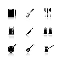 Kitchenware drop shadow black icons set vector image vector image