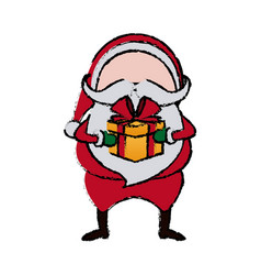 santa claus cartoon character with gift box merry vector image
