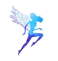 watercolor runner angel vector image