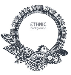 beautiful frame with hand drawn ethnic elements vector image vector image