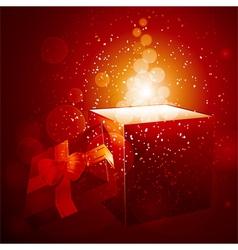 Glowing Christmas gift background vector image