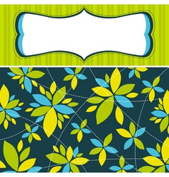 green background with decorative flowers vector image vector image