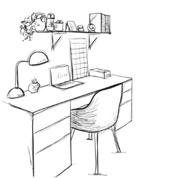 Hand drawn sketch of modern workspace with work vector image