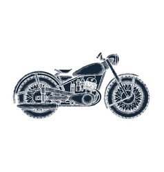 hand drawn vintage motorcycle logo design template vector image