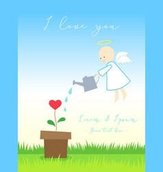 love card or poster with angel or cupid watering vector image vector image