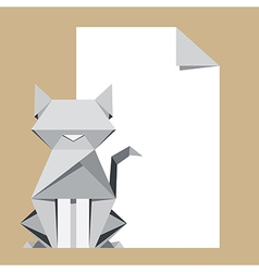 Origami cat with paper note vector image vector image