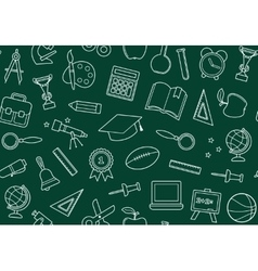 School seamless background on a blackboard vector image