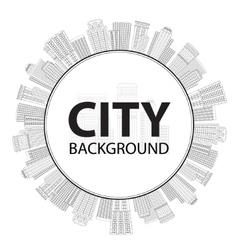 Seamless circular frame of line skyscrapers Black vector image