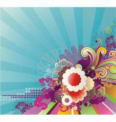 striped background with floral ornament vector image vector image