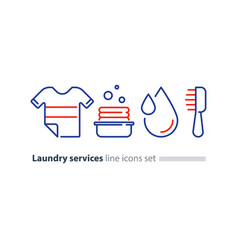 washing clothes laundry mono line icon t-shirt and vector image vector image