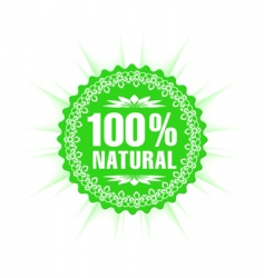 100% natural guarantee label vector image