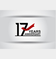 17 years anniversary design with red ribbon vector