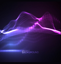 3d glowing neon digital wave of particles vector