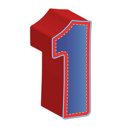 3d number one of 3d font vector image