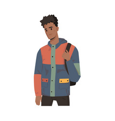 Afro american student with backpack man in jacket vector