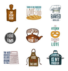 apron and saucepan bagel and wooden board with vector image