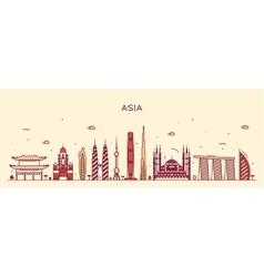 Asia skyline Trendy line art vector