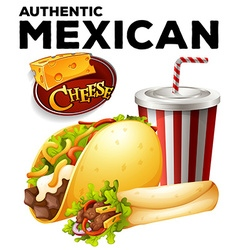 Authentic mexicon food on poster vector