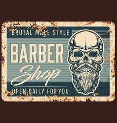barbershop men hairdresser rusty plate vector image