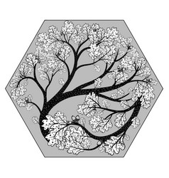 beautiful oak tree in hexahedron vector image