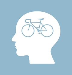 bicycle brain think man head vector image