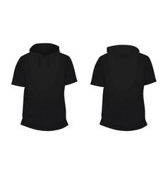 Black short sleeve hoodie vector