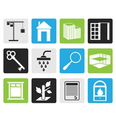 Black Simple Real Estate icons vector
