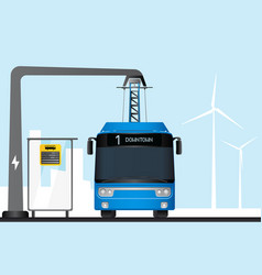 Blue electric bus is charged by pantograph vector