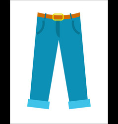 blue pants with belt icon in flat design vector image
