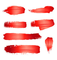 Brush stroke red paint or lipstick set isolated vector