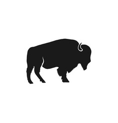 buffalo icon silhouette retro letterpress effect vector image