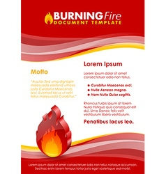 Burning fire document template vector image