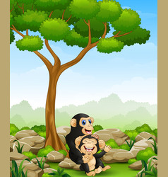 Cartoon chimpanzee mother hug her bachimp in th vector