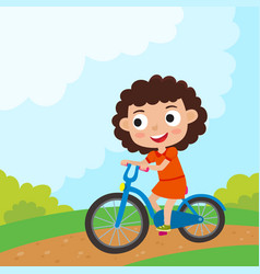 Cartoon girl riding a bike having fun riding vector