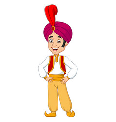 cartoon young aladdin posing on white background vector image