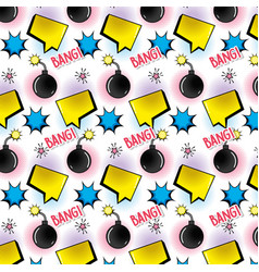 chat bubble with star and bomb background vector image