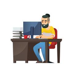 Cheerful bearded man at computer vector