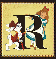 Children book cartoon fairytale alphabet letter r vector