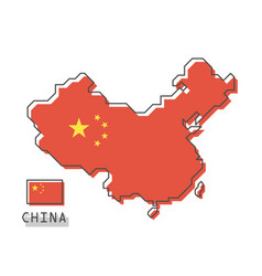 china map and flag modern simple line cartoon vector image